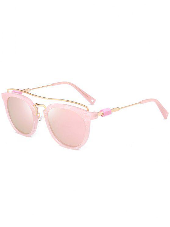 Metallic Full Frame Crossbar Sonnenbrille - Rosa