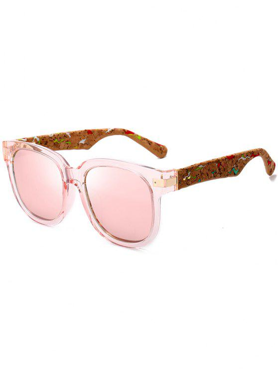 womens Marble Grain Legs Full Frame Mirror Sunglasses - PINK