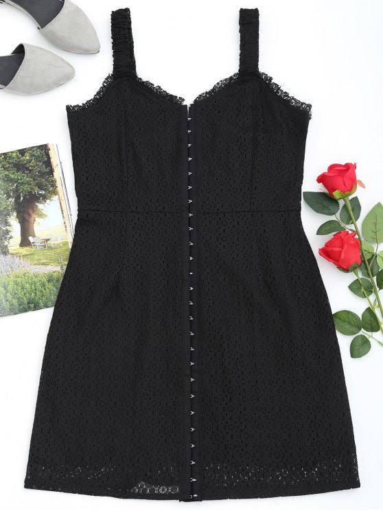 Front Full Closure Lace Babydoll Dress - Noir S