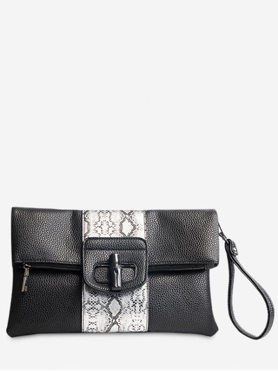 trendy Print Color Block Clutch Bag - BLACK