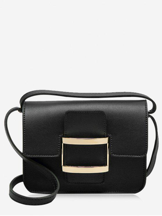 chic Metal Detail Buckle Strap Crossbody Bag - BLACK