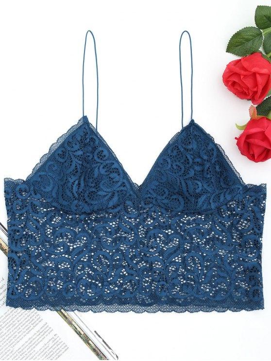 Camisole en Soutien-gorge et Motif en Dentelle Florale - Paon Bleu Taille Unique