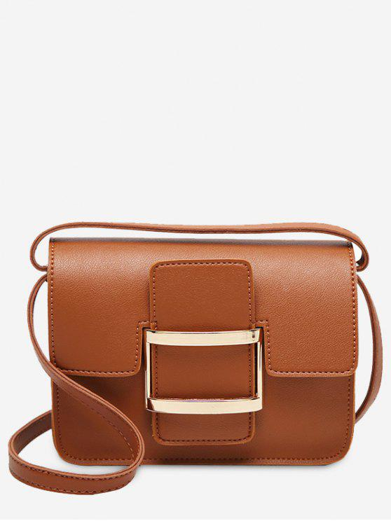 Metal Detail Buckle Strap Crossbody Bag - Castanho