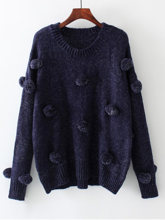 affordable Oversized Balls Applique Sweater - PURPLISH BLUE L