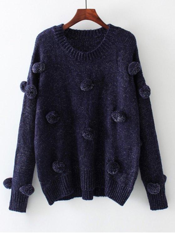 Pull Oversize à Pompons Applique - Bleu Violet M