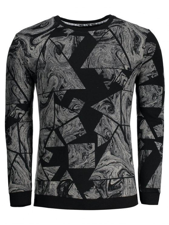 Männer Sweatshirt mit Abstraktem Druck - Schwarz XL