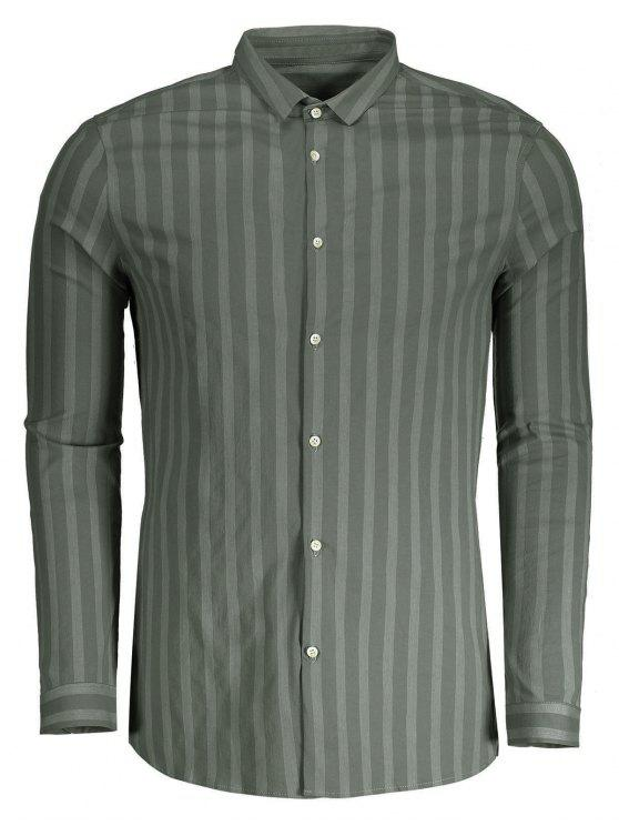 latest Button Up Mens Stripe Shirt - GREEN XL
