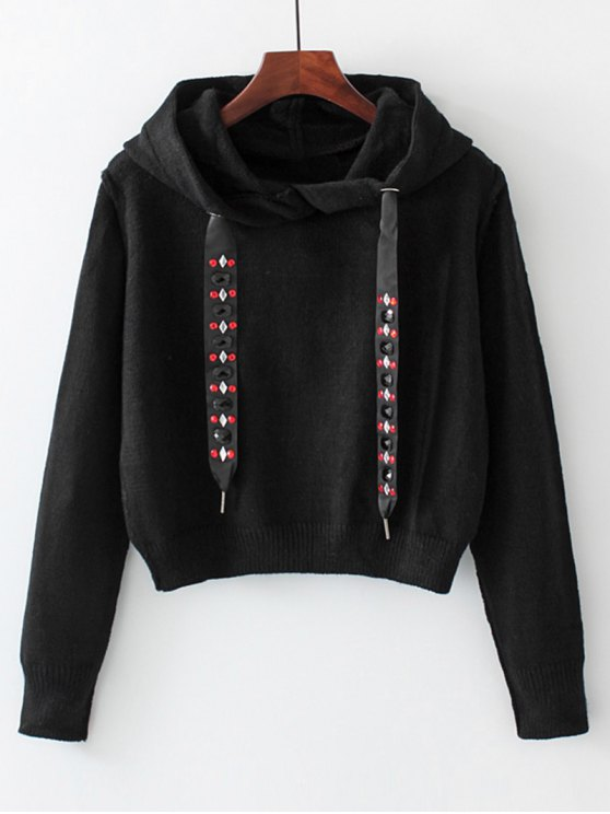 affordable Diamanted Cords Hooded Cropped Sweater - BLACK M