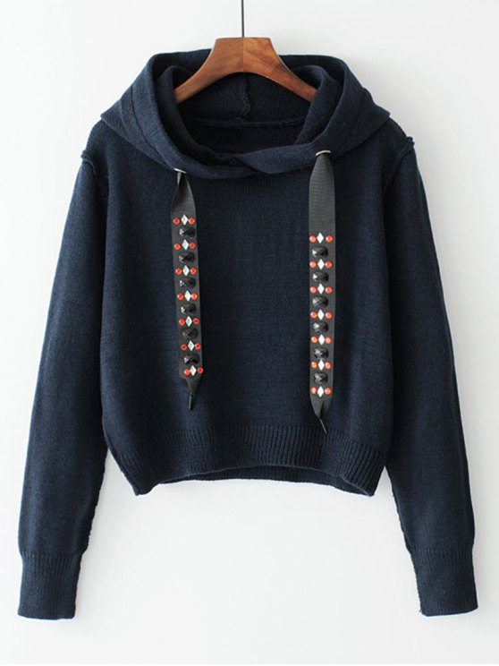 new Diamanted Cords Hooded Cropped Sweater - PURPLISH BLUE S