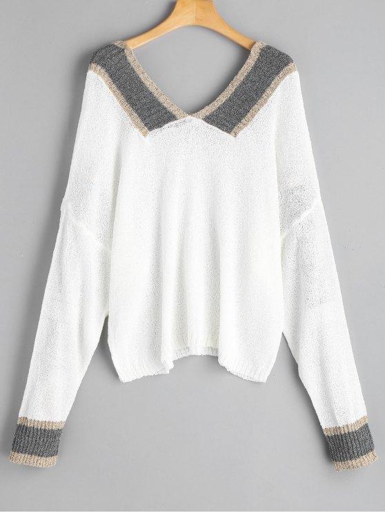 Tricot Oversize Contrastant à Encolure V - Blanc Taille Unique