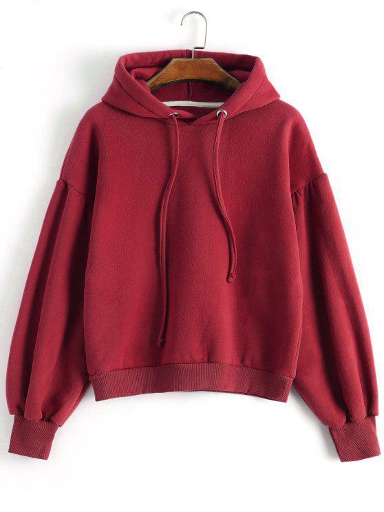 Drop hombro con capucha - Rojo M