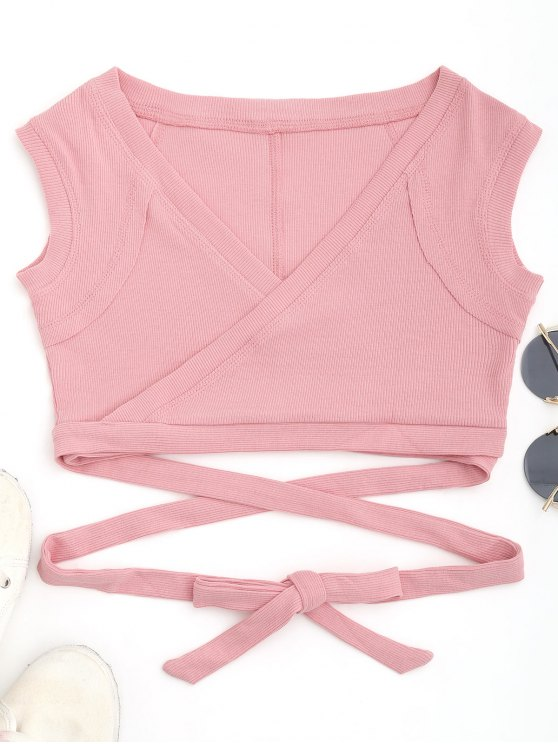 hot Cropped Ribbed Wrap Top - SHALLOW PINK S