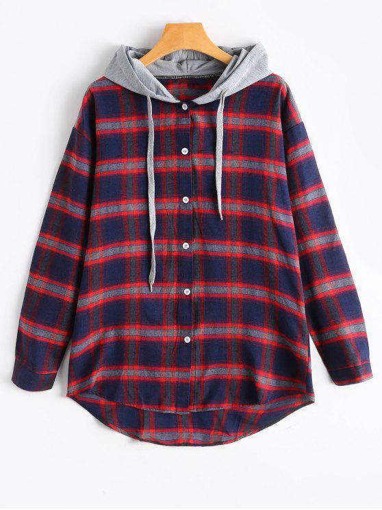 Chemise à Capuche et à Bouton - Rouge L