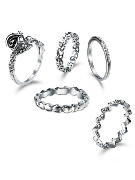 Rhinestoned Leaf Circle Finger Ring Set - silber