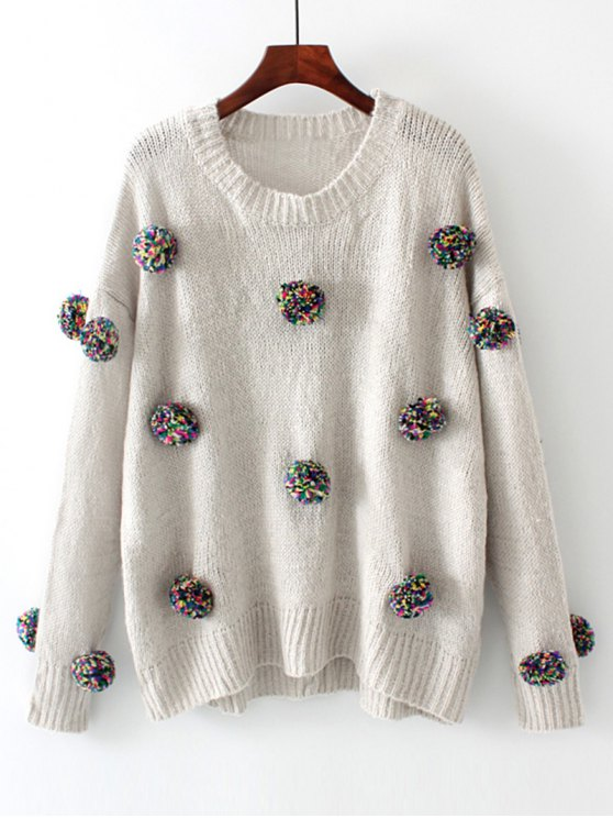 hot Oversized Balls Applique Sweater - GRAY L