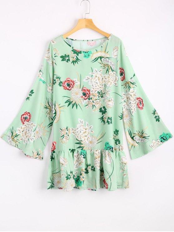 Robe Courte Imprimée à Fleurs à Manches évasées - Vert Clair XL