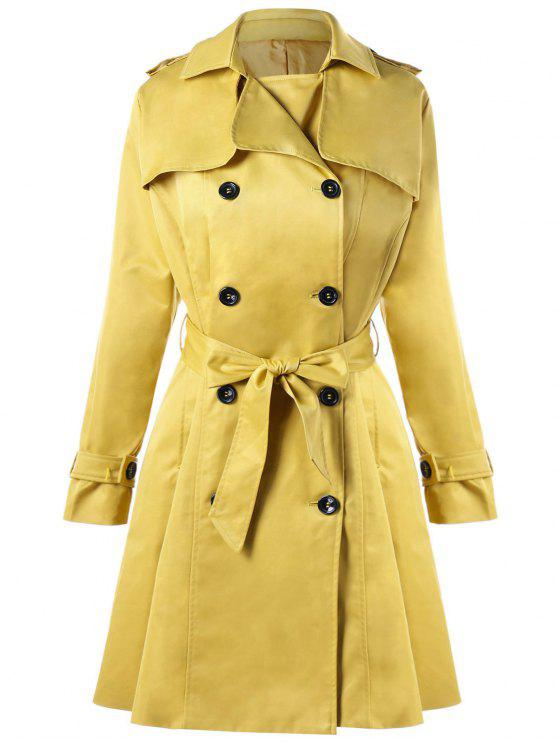 fashion Tie Belt Double Breasted Trench Coat - YELLOW L