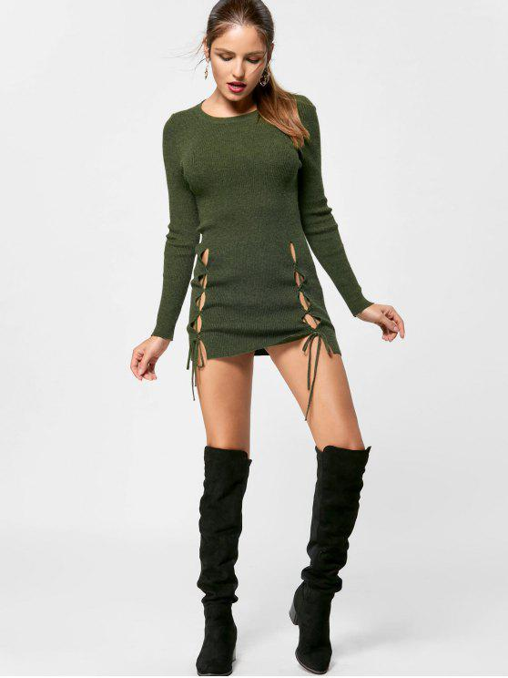 Lace Up Mini Jumper Dress - verde oliva S