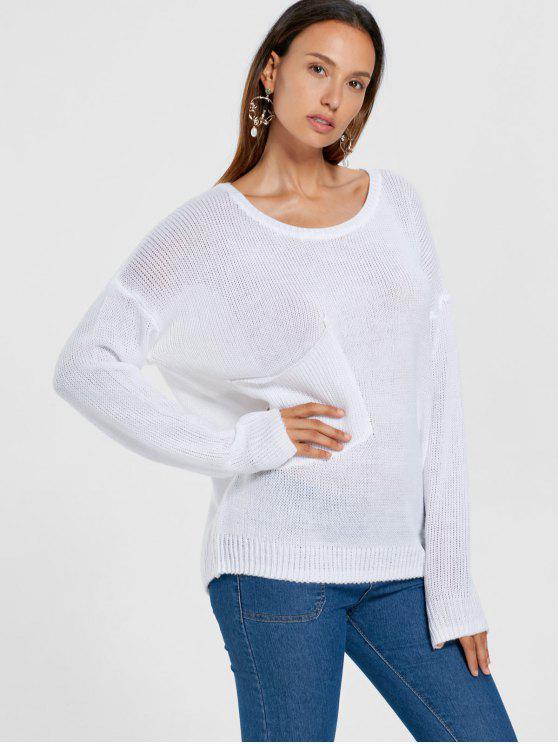 Maglione della spalla di goccia della tasca di zona - Bianca XL