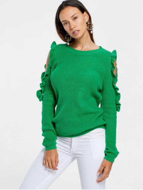 new Frill Cold Shoulder Sweater - GREEN S