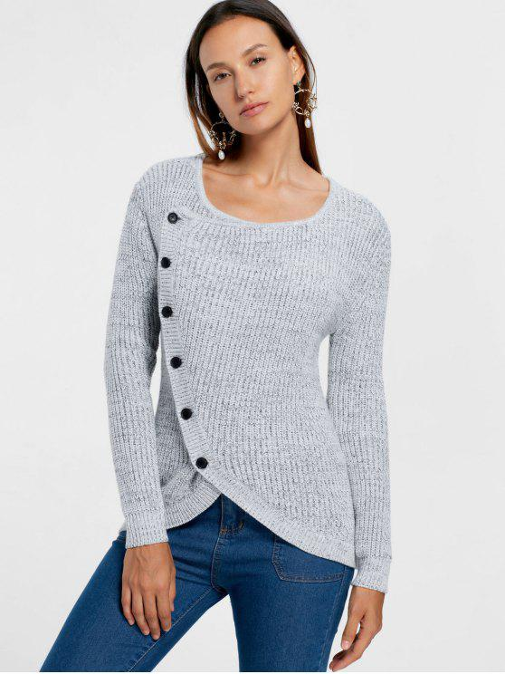 fashion Single Breasted Overlap Sweater - GRAY S