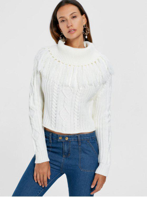 sale Turtleneck Cable Knit Tassel Sweater - WHITE S