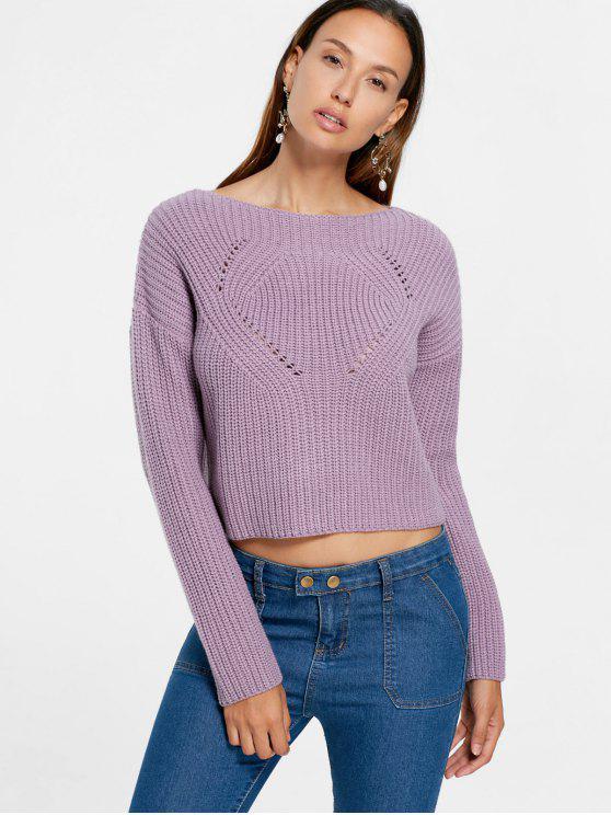 best Drop Shoulder Crop Sweater - PALE PINKISH GREY S