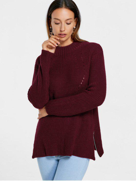 hot High Neck Side Zip Sweater - WINE RED S