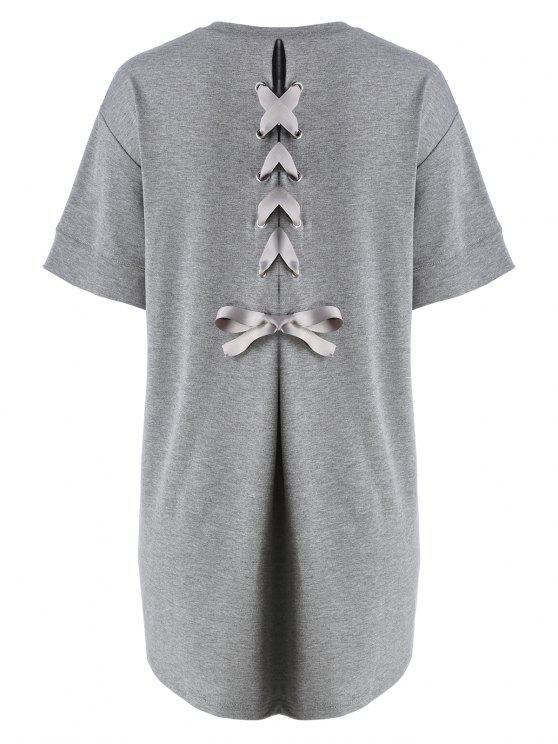 فستان تي شيرت الحجم الكبير رباط الظهر - اللون الرمادي 5XL