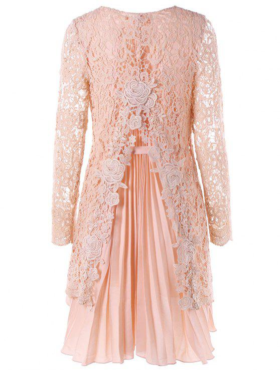 affordable Long Sleeve High Low Mini Lace Pleated Dress - PINK 2XL