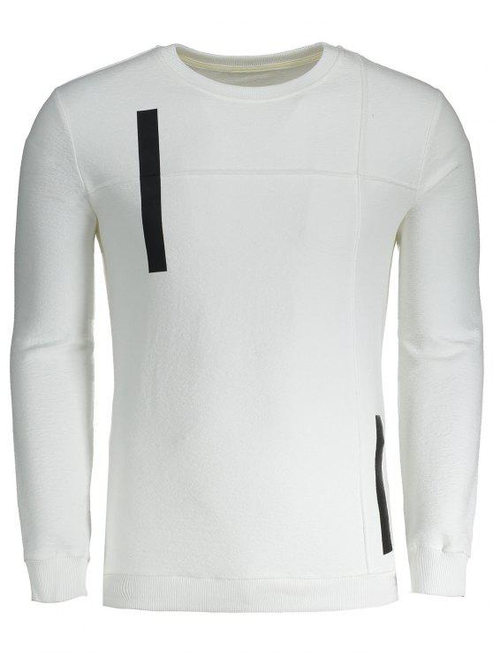 Sweat-shirt Applique Homme en Coton - Blanc L