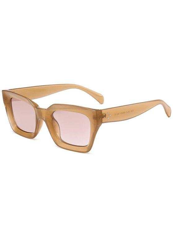 outfit UV Protection Full Frame Square Sunglasses - LIGHT COFFEE