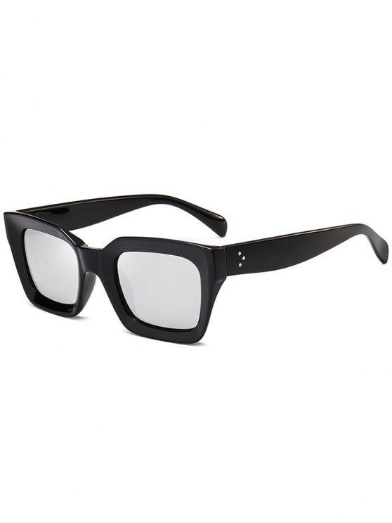 Proteção UV Full Frame Square Sunglasses - Prateado
