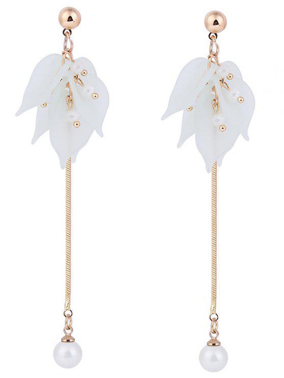 women's Leaf Pearl Pendant Stud Drop Earrings - CLOVER