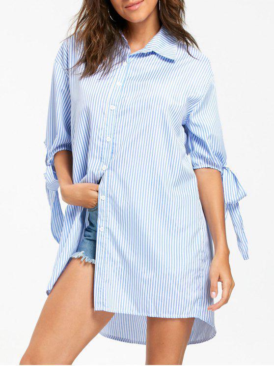 trendy Bowknot Striped Tunic Shirt - LIGHT BLUE M