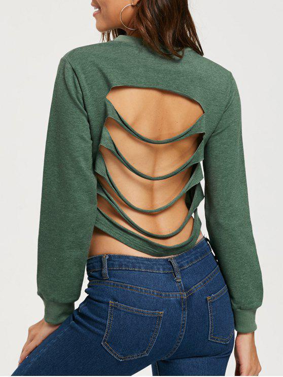 Ripped Open Back Crop Sweatshirt - Exército verde 2XL