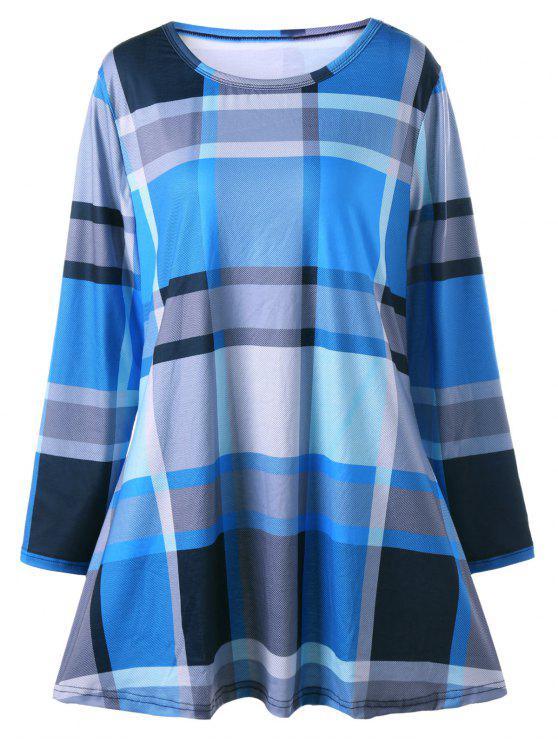 فستان تي شيرت الحجم الكبير طويلة الأكمام - أزرق 5XL