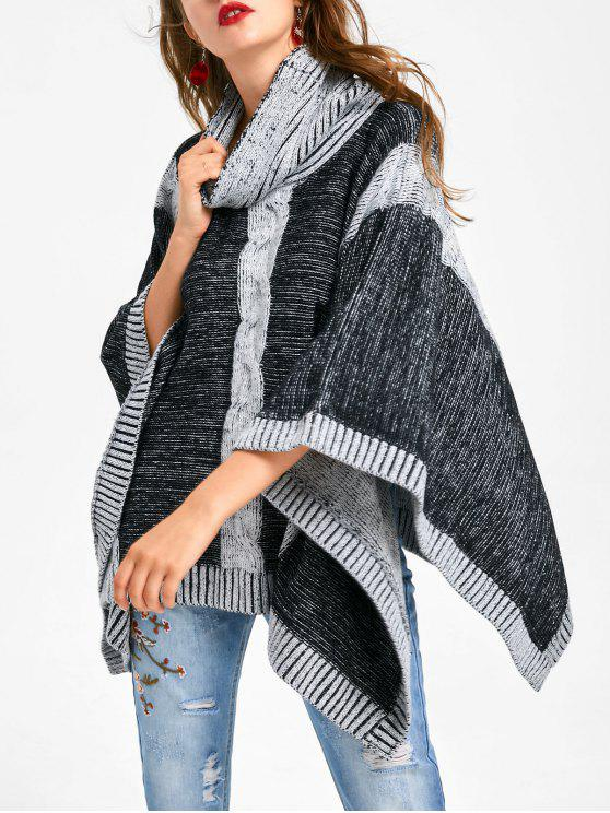 2018 Cowl Neck Cable Knit Poncho Sweater In Black And Grey One Size