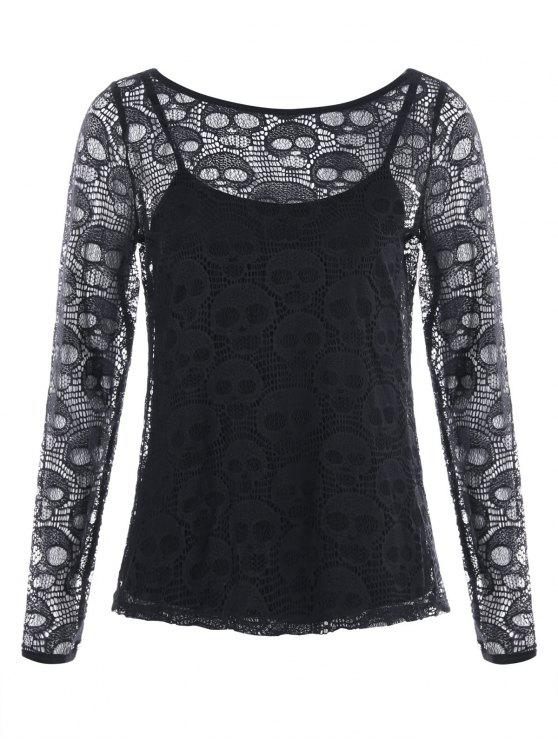 ladies Halloween Hollow Out Skull Blouse with Cami Top - BLACK M