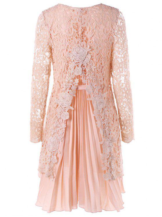 Langes Hülsen-Hochniedriges Mini-Spitze-gefaltetes Kleid - Rosa XL