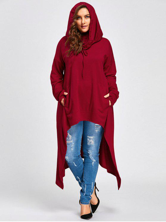 shop Plus Size Convertible Neck Long High Low Top - RED 2XL