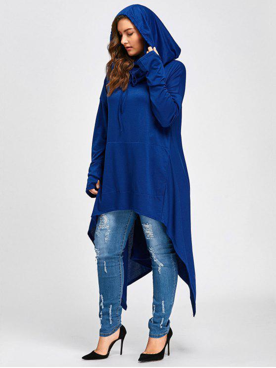 Sweat Capuche Grande Taille Col Bénitier Long Haut-Bas - Bleu 4XL