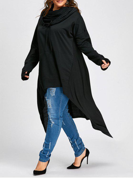 unique Plus Size Convertible Neck Long High Low Top - BLACK 4XL