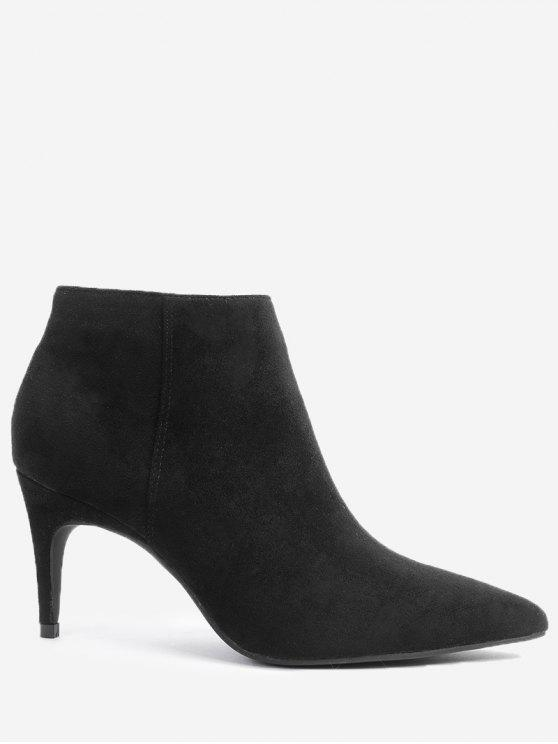 Stiletto Botas Laterales Zip - Negro 37