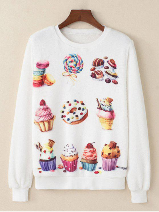 Dessert gedrucktes flauschiges Sweatshirt - Weiß L