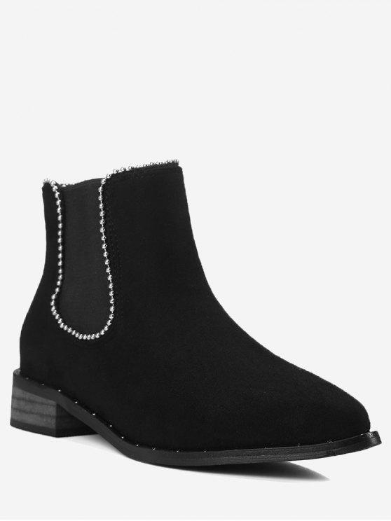 chic Cork Heel Bead Ankle Boots - BLACK 42
