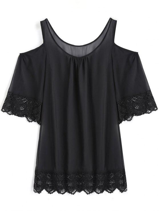 Vestido de capa transparente para ombro frio - Preto L