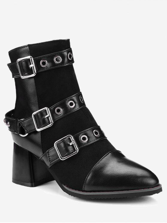 women Ankle Multi Buckle Straps Chunky Boots - BLACK 38