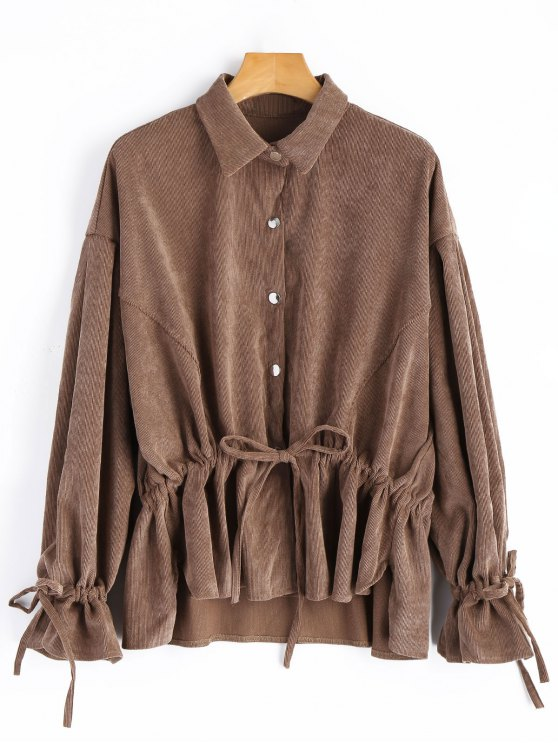 women's Snap-button Drawstring Corduroy Coat - DEEP BROWN ONE SIZE