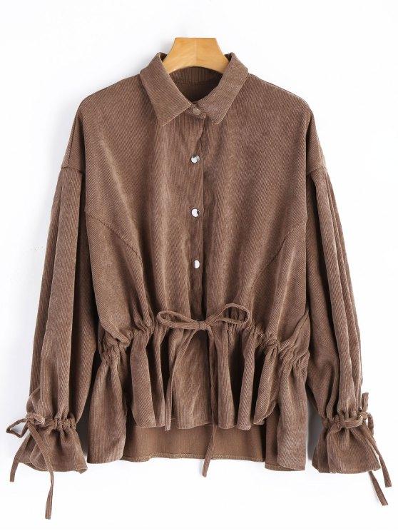 women's Snap-button Drawstring Corduroy Coat - DEEP BROWN ONE SIZE
